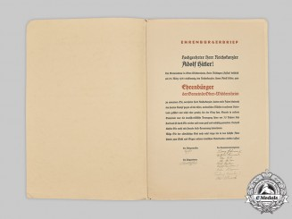 Germany, Third Reich. An Ober Widdersheim Honorary Citizen Document to AH