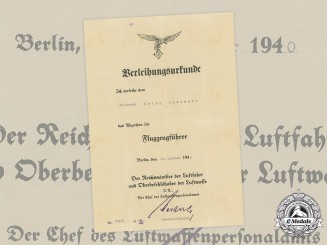 Germany, Luftwaffe. A Pilot Badge Certificate to Feldwebel Georg Liebherr (KIFA)