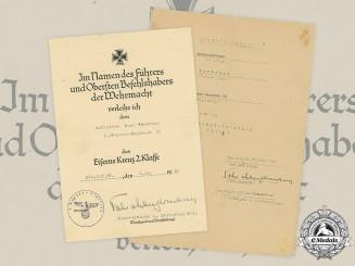 Germany, Heer. Two Award Certificates to Panzer Gefreiter Vonbrunn, 1941