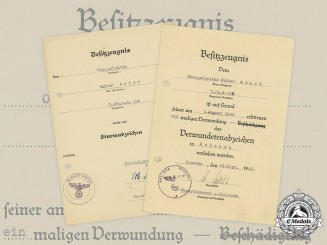 Germany, Heer. Two Award Documents to Panzer Artillery Obergefreiter Arndt, 1942