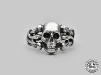 Germany, Third Reich. A Silver Totenkopf Ring