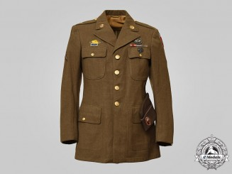 United States. An 82nd Airborne All-American Division Tunic and Side Cap to a Medical Private First Class, c.1945
