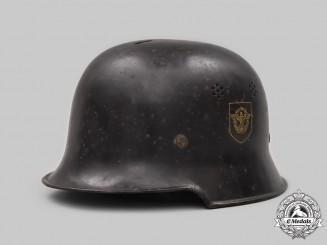 Germany, Feuerschutzpolizei. A Double Decal Steel Helmet