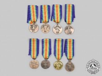 International. A Lot of Eight First War Miniature Victory Medals