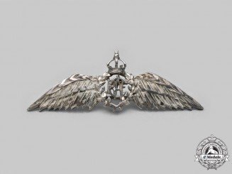Canada, Commonwealth. A Hand Engraved RCAF Pilot Wing in Silver