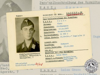 Germany, SS. A SS HIAG Tracing Service File for SS-Sturmmann Klaus Gross