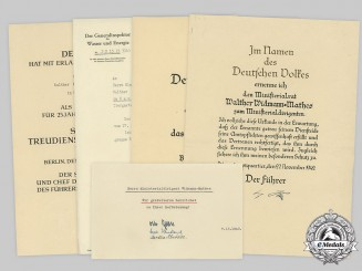 Germany, Third Reich. A Lot of Award Documents &  Correspondence to Ministerialrat Walther Widmann-Mathes