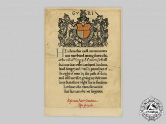 United Kingdom. A First War Memorial Scroll, to Rifleman Albert Seaman, 11th Battalion, Rifle Brigade (The Prince Consort's Own)