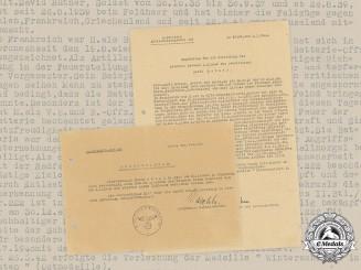 Germany, Heer. Two Documents to Artillery Oberleutnant Hutner (EK1)