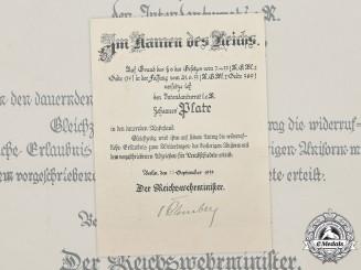 Germany, Third Reich. An Award Document with Werner von Blomberg Signature