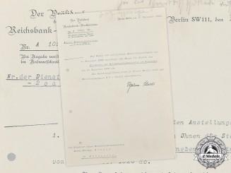 Germany, Weimar Republic. A Reichsbank Promotion Document with Hjalmar Schacht Signature