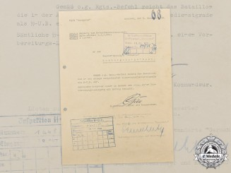 Germany, SS. A 1938 SS-Standarte Germania Document with Gille & Demelhuber Signatures