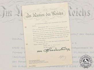 Germany, Weimar Republic. A 1929 Retirement Document with Paul von Hindenburg Signature