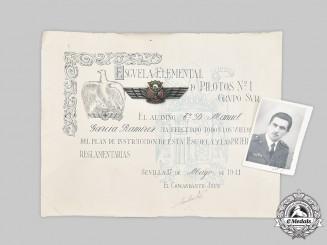 Spain, Fascist State. A Pilot Group to Lieutenant D. Manuel Garcia Ramirez