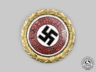 Germany, NSDAP. A Golden Party Badge, Small Version, by Deschler & Sohn