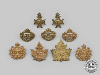 Canada. Lot of Nine Regimental Badges