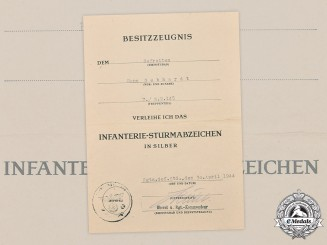 Germany, Heer. An Award Document for an Infantry Assault Badge to Gefreiter Hans Gebhardt, Italian Campaign