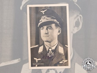 Germany, Luftwaffe. A Wartime Signed Photo of Oberleutnant Wolfgang Späte, Knight's Cross with Oak Leaves