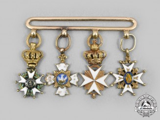 France, Napoleonic. A Miniature Group of Four Orders, in Gold, c. 1890