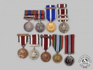 Canada, United Kingdom, United Nations, International. A Lot of Nine Service Medals