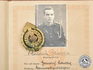 Germany, HJ. A Leader's Sports Badge, with Sports Book, by Gustav Brehmer