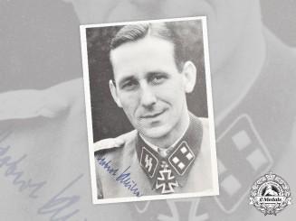 Germany, SS. A Postwar Signed Portrait of SS-Sturmbannführer Herbert Schulze, Knight's Cross Recipient
