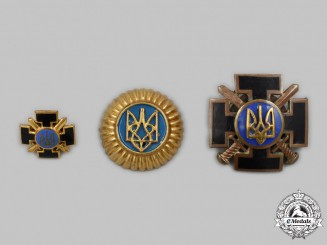 Ukraine. An Armed Forces Combatant's Cross, with Miniature and Cockade