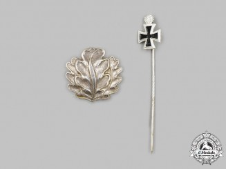 Germany, Federal Republic. A Set of Oak Leaves to the Knight's Cross, with Stick Pin Miniature, 1957 Version