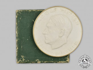 Germany, Third Reich. A Hans Lohnert Sports Field 10-Year Anniversary Table Medal, with Case