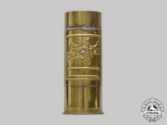 Yugoslavia, Socialist Republic. A Mostar Trench Art Brass Shell