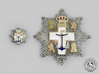 Spain, Kingdom. An Order of Naval Merit with White Distinction, II Class Star, Fullsize and Miniature, c.1980