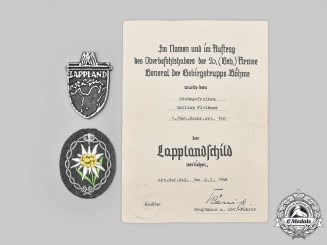 Germany, Heer. A Lappland Shield, with Award Document and Insignia, to Stabsgefreiter Emilian Fleißner