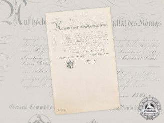 Prussia, Kingdom. A Red Eagle Order IV Class Document, 1848