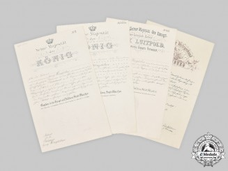 Germany, Imperial. A Collection of Promotion Documents to Oberleutnant Georg Weingärtner 1914