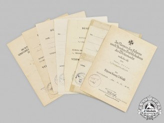 Germany, Heer. A Lot of Award Documents to Wachtmeister Josef Bross, Tank Destroyer Unit