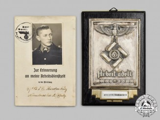Germany, RAD. A Reich Labour Service Commemorative Plaque and Booklet to Georg Hilpert