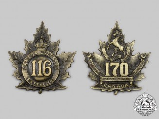 Canada, CEF. Two CEF Cap Badges, 116th & 170th Infantry Battalions
