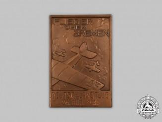 Germany, Third Reich. A 1933 Bremen German Flight Day Plaque