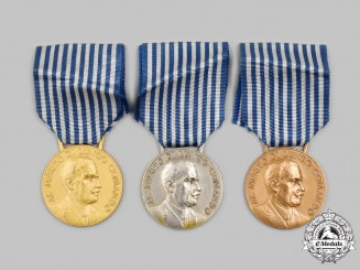 Italy, Kingdom. Three Merit Medals for Long Command of the Royal Army