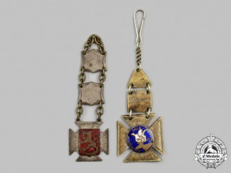 Finland, Republic. Two Travelling Badges with Fobs