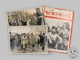 Yugoslavia, Serbia. Two Second War Chetniks Group Photographs and a Newsweek Magazine
