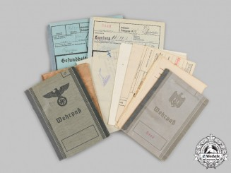 Germany, Wehrmacht. A Lot of Service Books and Identity Documents to a Pair of Soldiers with First and Second War Service