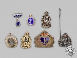 Canada. A Lot of Seven RCN/RCNVR Sweetheart Badges, c.1945