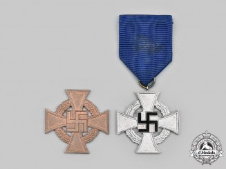 Germany, Third Reich. A Pair of Civil Service Long Service Decorations