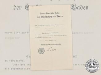 Germany, Imperial. A Baden War Merit Cross Award Document, c.1916