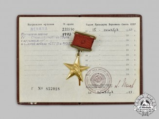 Russia, Soviet Union. A Hero of Socialist Labour and the Gold Sickle and Hammer Medal, Type II
