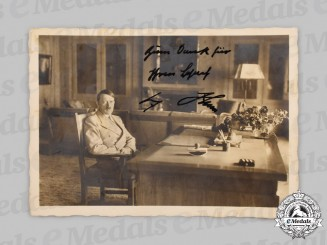 Germany, Third Reich. A Signed and Dedicated AH Postcard