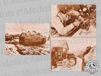 Germany, SS. A Lot of Postwar Signed Photos of SS-Sturmbannführer Hans Siegel, with Battle of Kharkov Combat Scenes