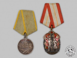 Russia, Soviet Union. Two Medals & Awards