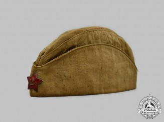 Russia, Soviet Union. A Second War Red Army NCO's Side Cap